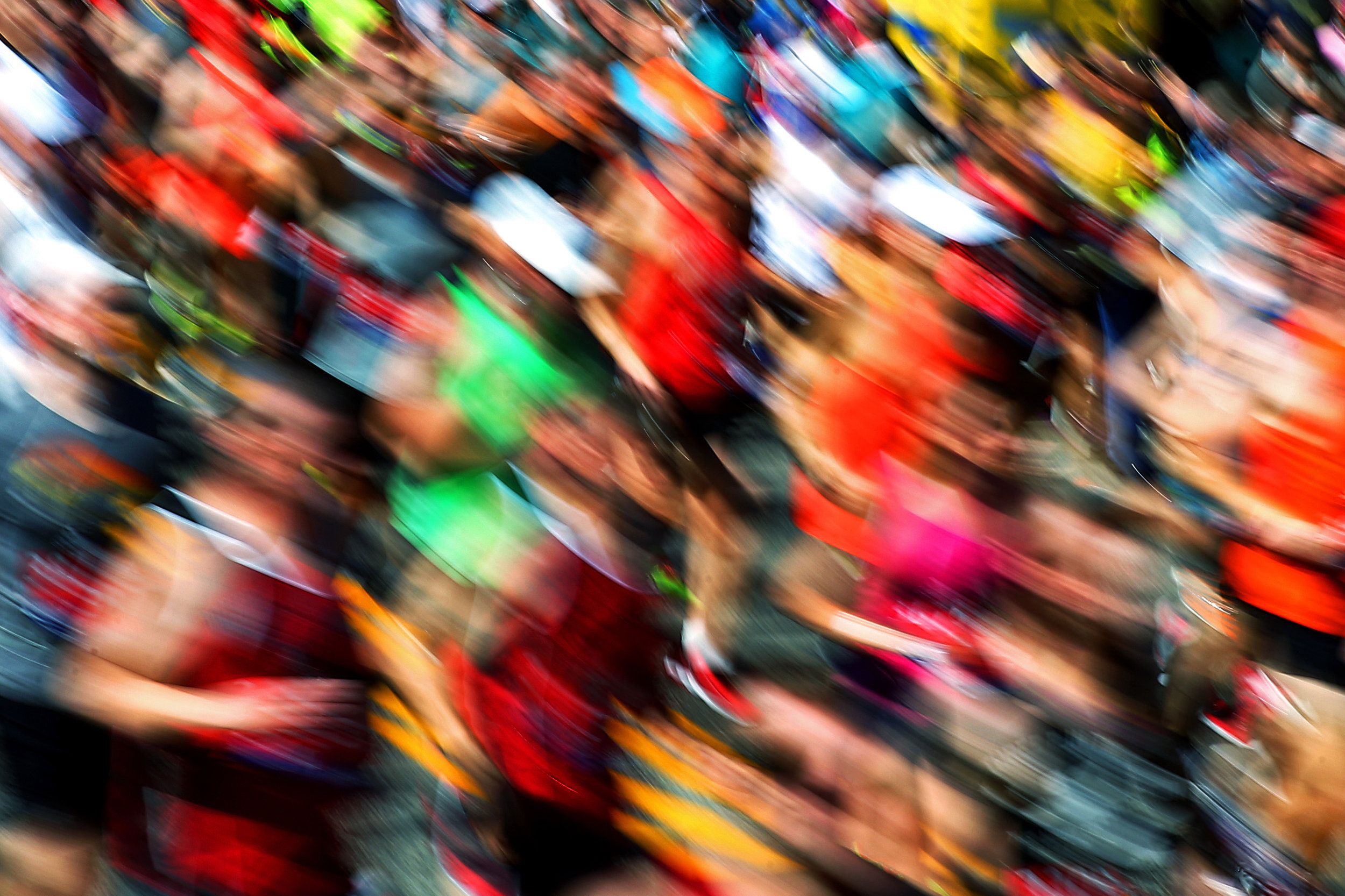 HOPKINTON, MA - APRIL 18: A blurred view as Wave One runners start the 120th Boston Marathon on April 18, 2016 in Hopkinton, Massachusetts. (Photo by Tim Bradbury/Getty Images)