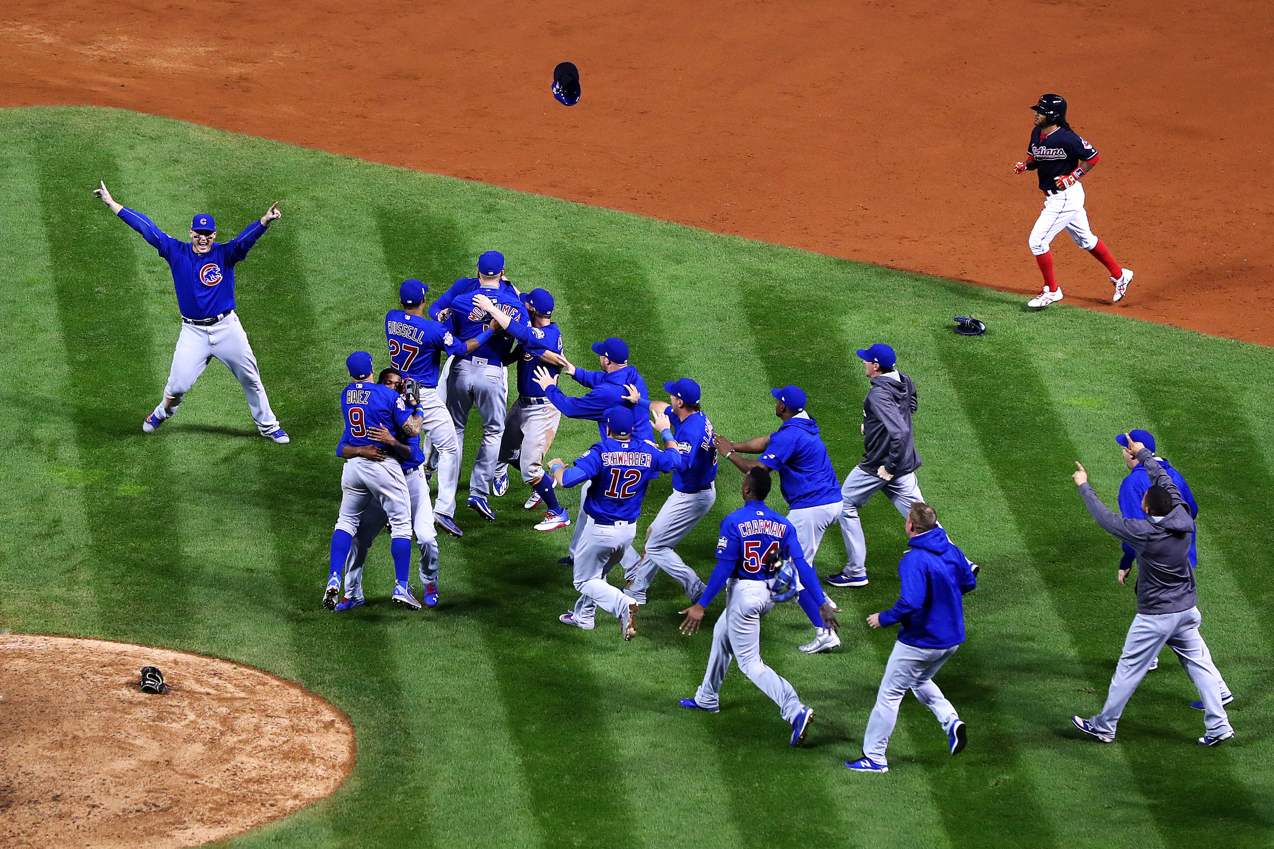 CLEVELAND, OH - NOVEMBER 02: The Chicago Cubs celebrate after defeating the Cleveland Indians 8-7 in Game Seven of the 2016 World Series at Progressive Field on November 2, 2016 in Cleveland, Ohio. The Cubs win their first World Series in 108 years. (Photo by Tim Bradbury/Getty Images)