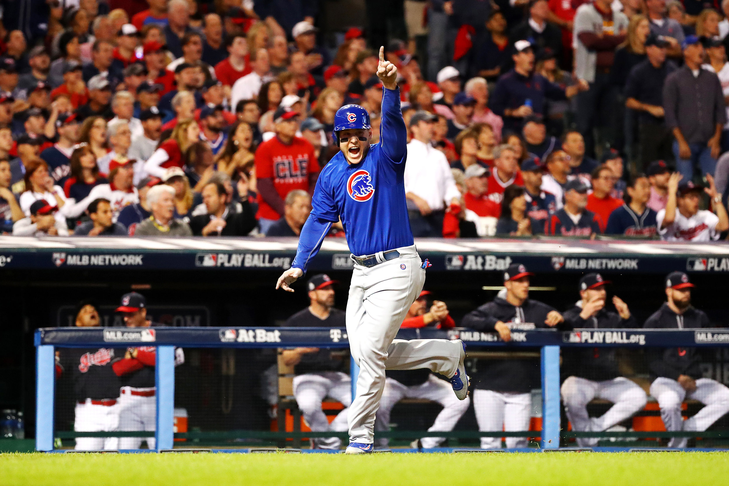 CLEVELAND, OH - NOVEMBER 01: Anthony Rizzo #44 of the Chicago Cubs celebrates after Addison Russell #27 (not pictured) hit a two-run RBI double during the first inning against the Cleveland Indians in Game Six of the 2016 World Series at Progressive Field on November 1, 2016 in Cleveland, Ohio. (Photo by Tim Bradbury/Getty Images)