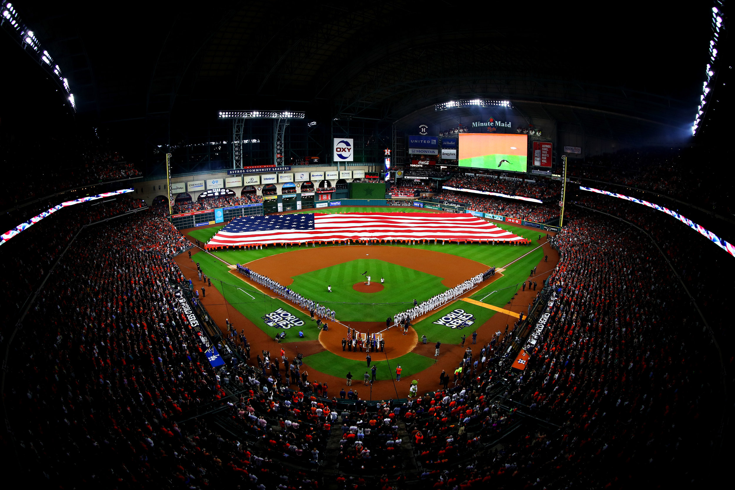 HOUSTON, TX - OCTOBER 27: A general view of the American flag as the national anthem is performed before game three of the 2017 World Series between the Houston Astros and the Los Angeles Dodgers at Minute Maid Park on October 27, 2017 in Houston, Texas. (Photo by Tim Bradbury/Getty Images)
