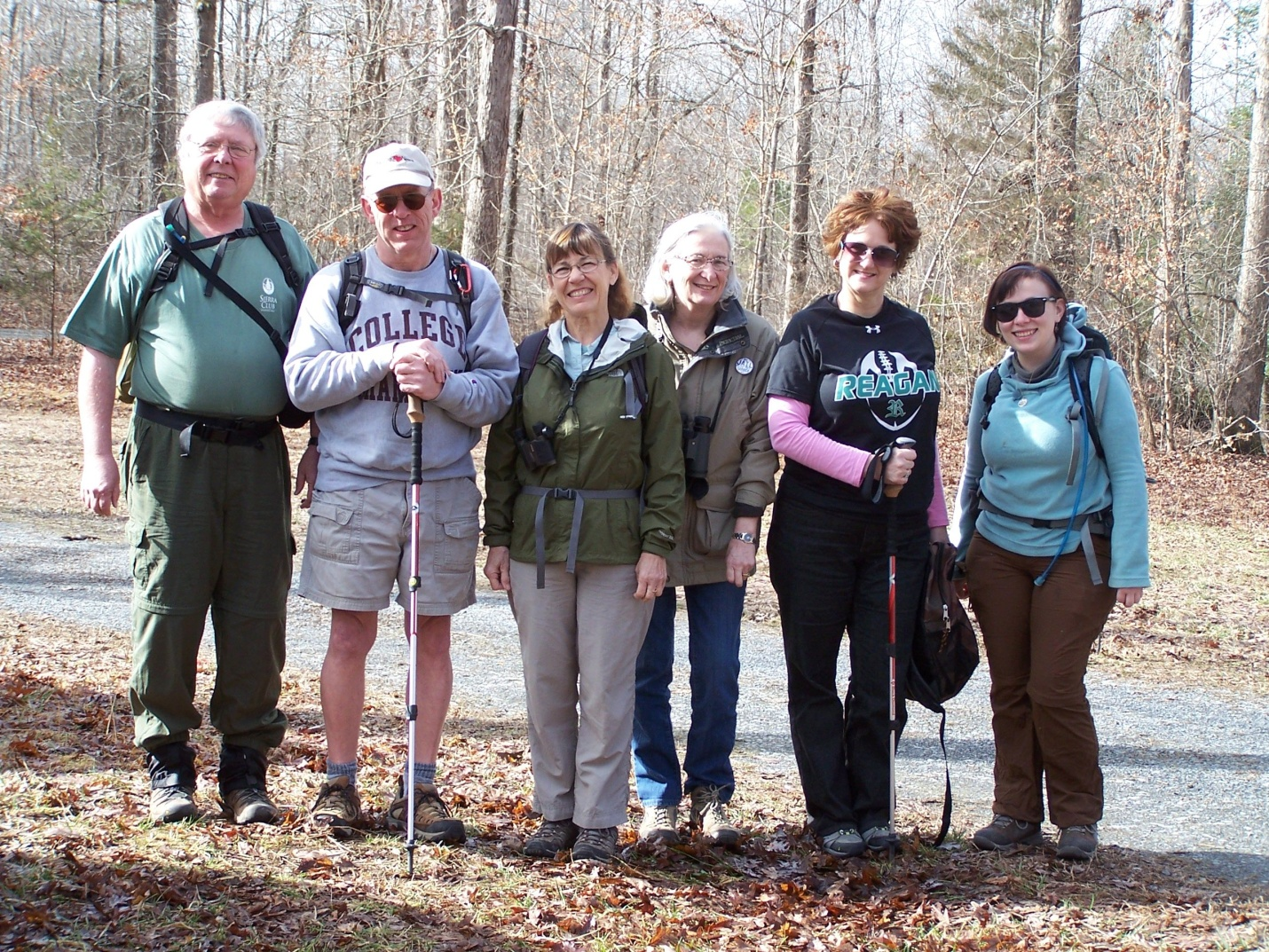Before the hike. From left to right: Henry Fansler, Mike Hill, Laura Phail, Cornelia Barr, Kelli Bush, and Kim Fleming.