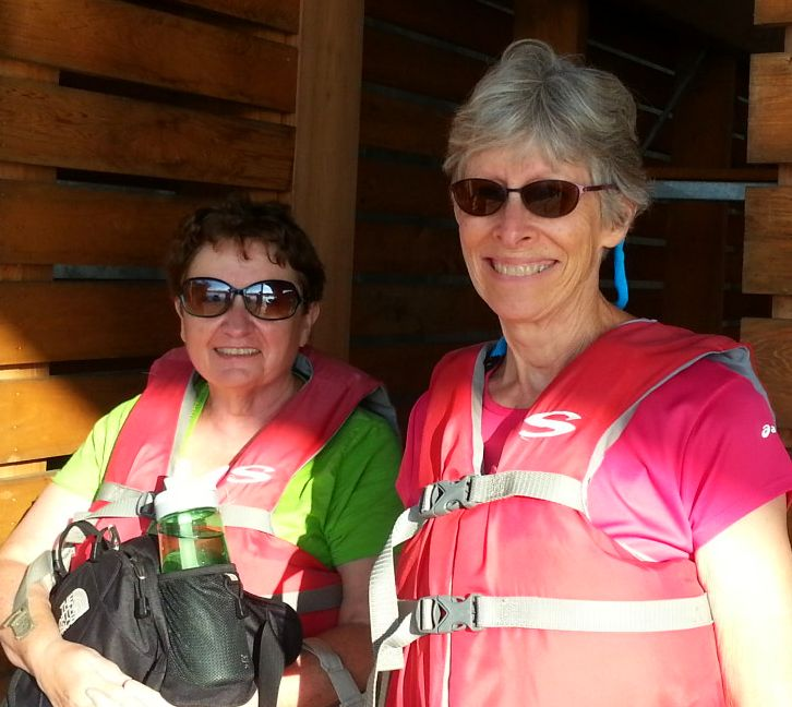 NC Sierra Club state director, Molly Diggins (left) and Chapter Treasurer Maribeth Weinman pose for a picture after a canoe trip on Lake Tillery.