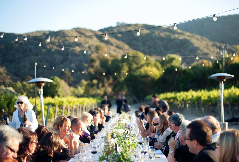 Vineyard wedding dinner nestled in foothills of Carmel Valley