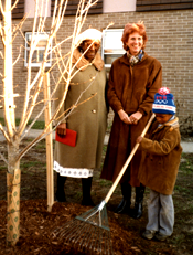 Lucille Taylor, head of Parkway Towers Resident Association, Tree Foundation president Betty Brown, and Towers resident Bryant Bonds at the first planting at Parkway Terrace   in December 1986.