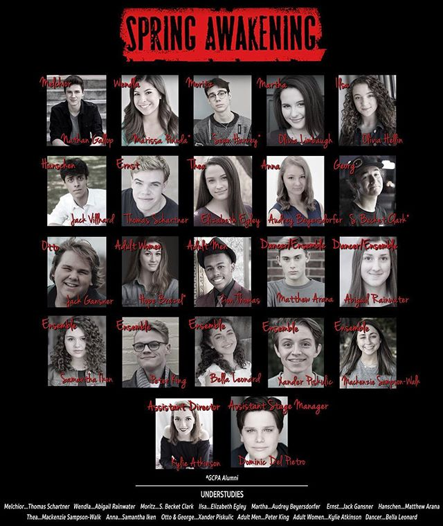 We are proud to announce the cast of Spring Awakening! Catch them in our story, too! #gcpaspringawakening