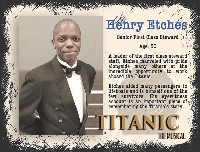 Evan plays the loyal Henry Etches - Senior First Class Steward. Read his amazing story and come witness it April 12-14! #gcpatitanic