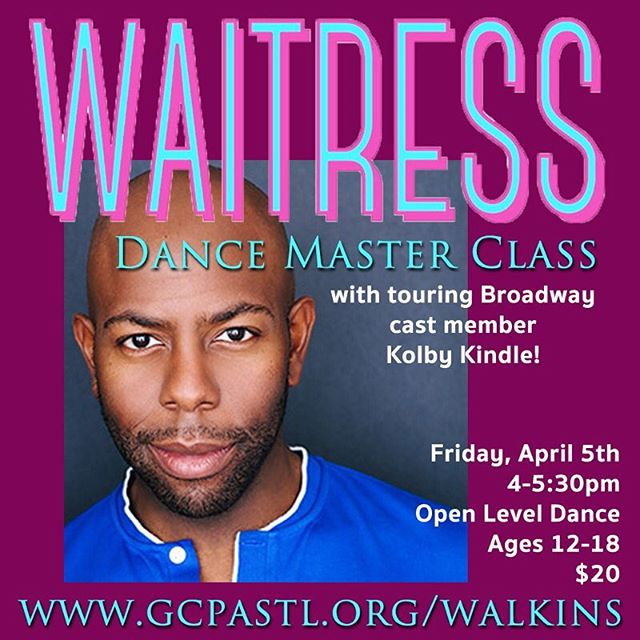 TOMORROW!!! Join Waitress cast member Kolby Kindle for a dance master class! Dance with Kolby and participate in a Q&A about Broadway Performing! Don't miss this amazing opportunity to work with this amazing professional! Pre-registration is available online and walking are welcome! Thanks to our partners at @foxpacf for this opportunity!
