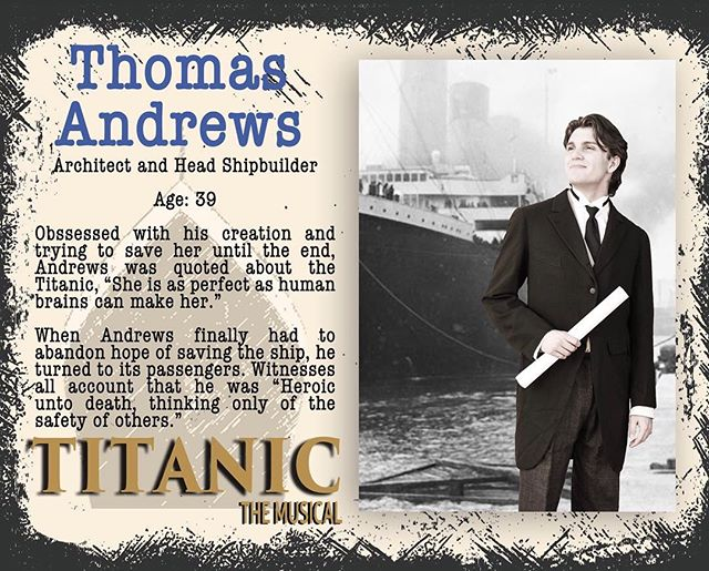 Last but not least is the builder, Thomas Andrews (played by Caleb!) Read about him today and then be ready for Senior Features starting soon! Titanic sets sail in 1 week! #gcpatitanic