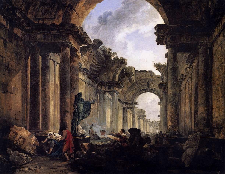 """""""Vista Imaginaria de la Gran Galeria en el Louvre en Ruinas"""" por Hubert Robert, 1796"""