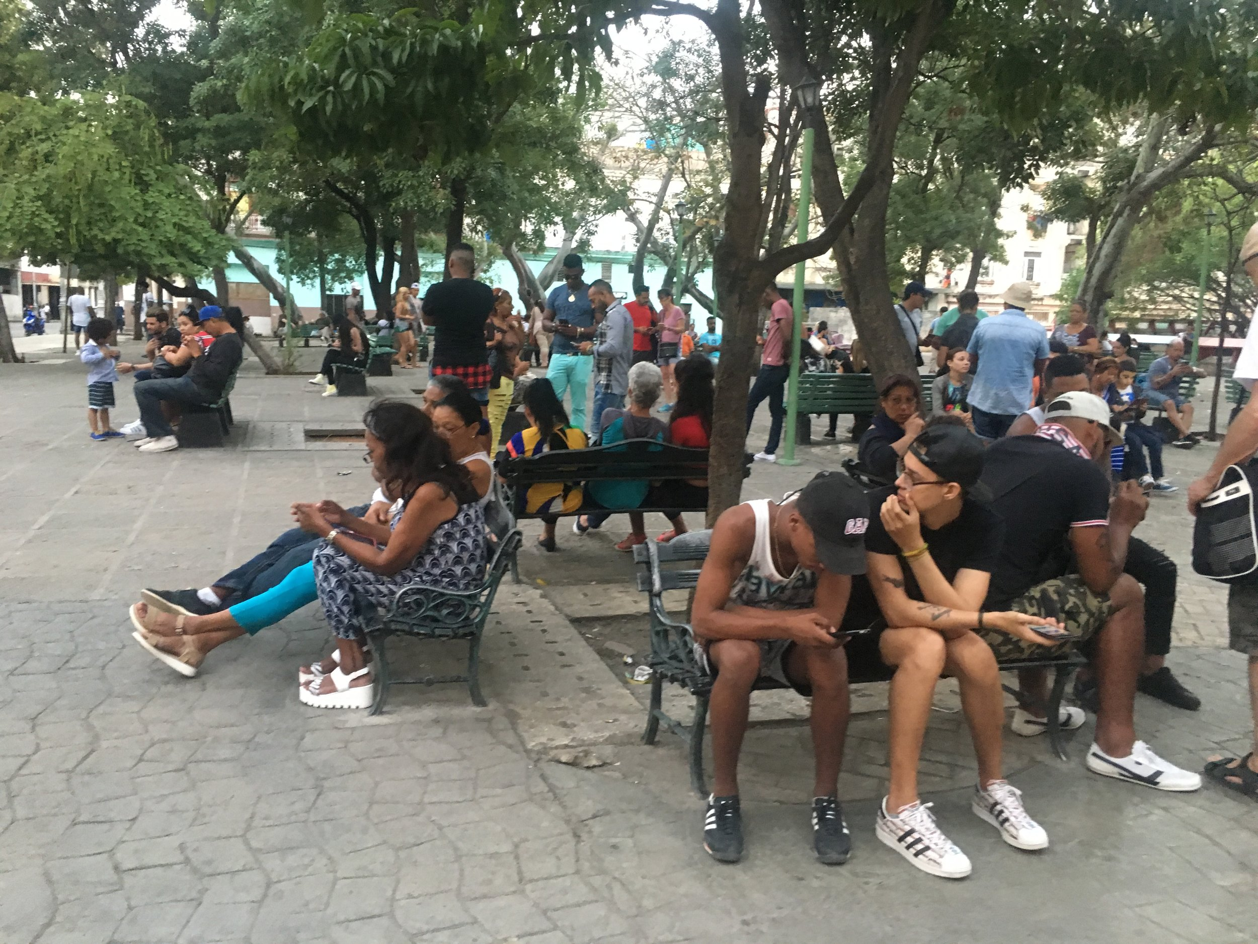 One of Havana's many plazas...and an internet/phone hotspot.
