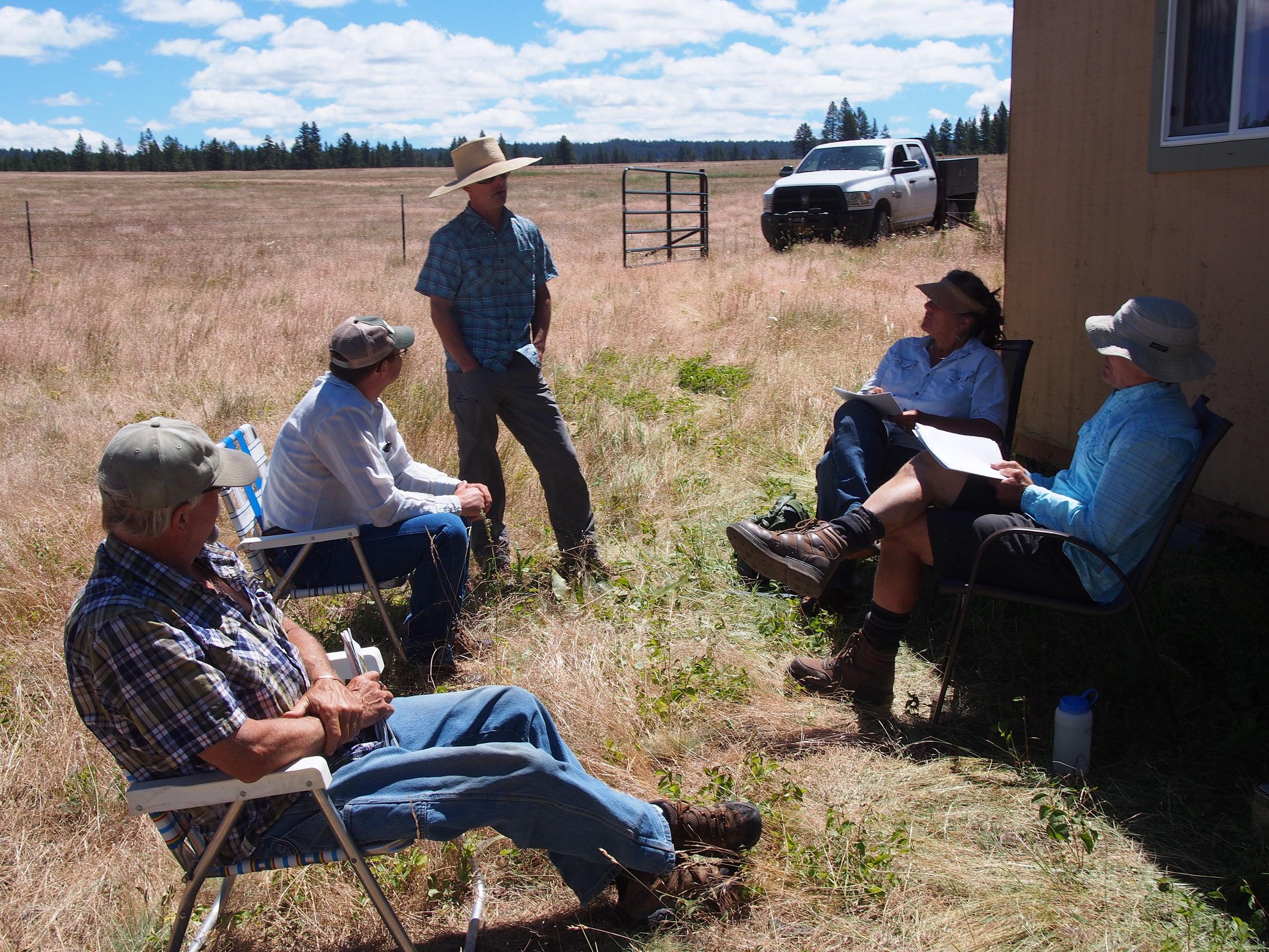 Grassland restoration huddle.