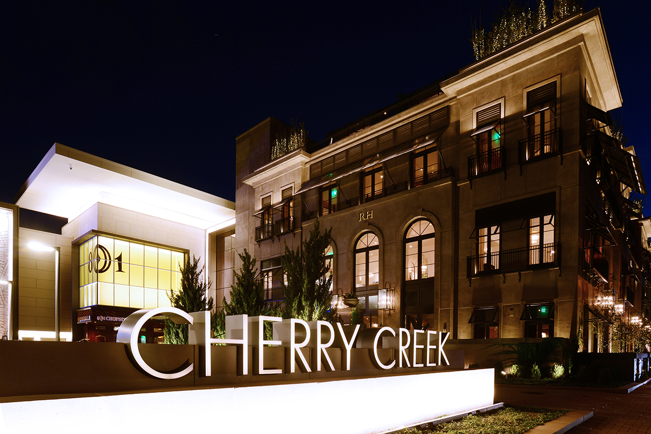 The exterior of the renovated Cherry Creek Mall with the new Restoration Hardware store.