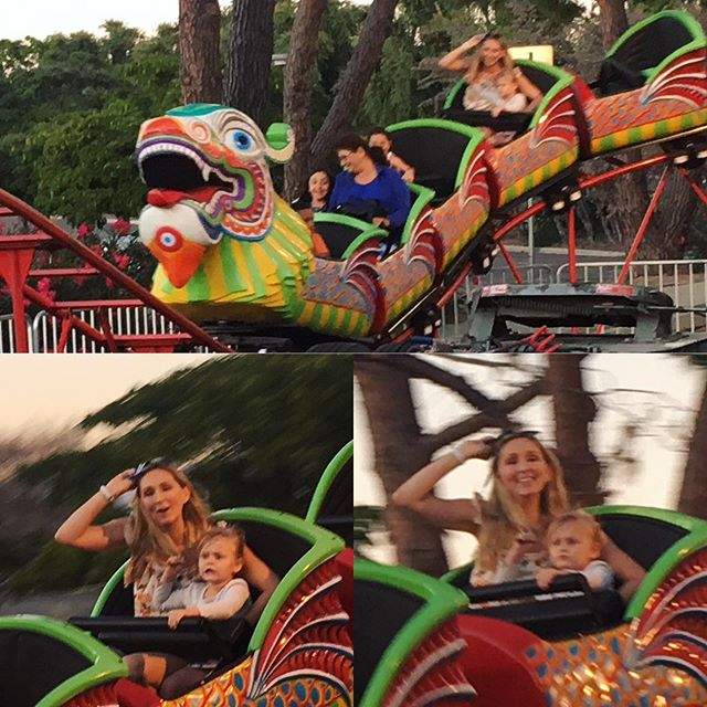 Claire's first coaster, the dreaded Dragon!