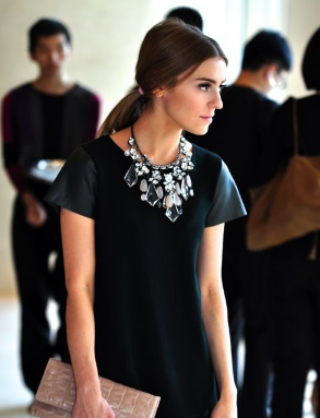 Statement necklace on black T shirt