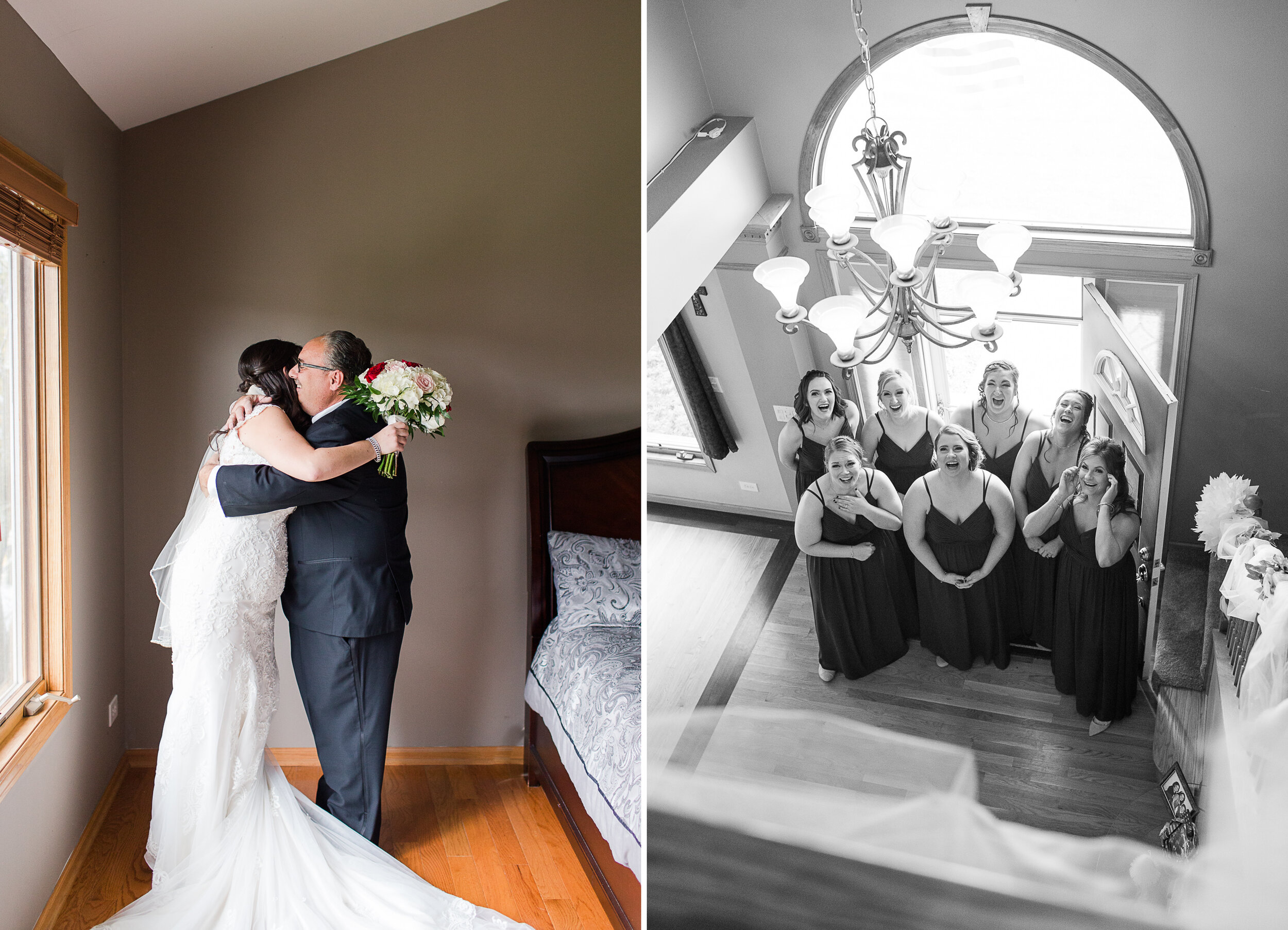 So many sweet moments — Danielle and her dad, Danielle and her bridesmaids, all seeing her for the first time!