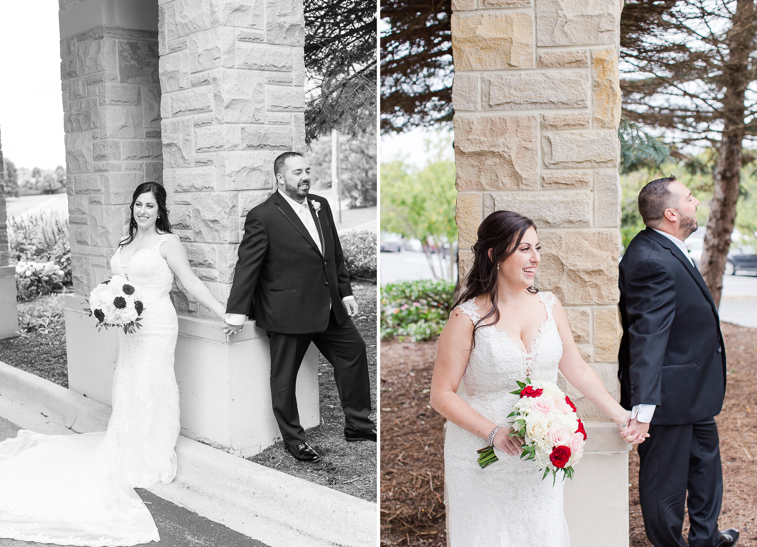 """Danielle and Sean did a """"first touch"""" (first time I've heard it called that!!). They really wanted that special moment when they saw each other at their ceremony, but an hour before the wedding they held hands around a corner and just laughed together!"""