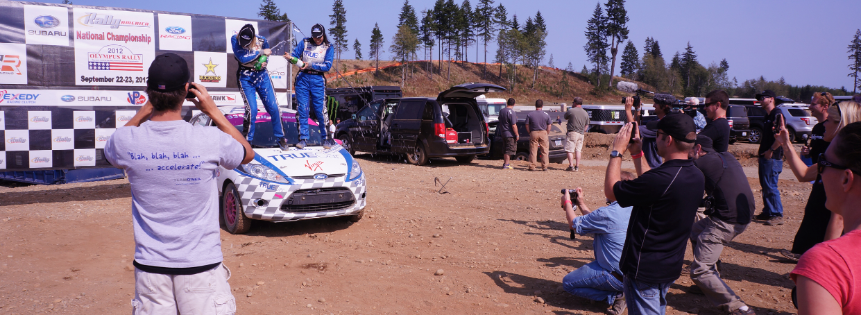 Verena and Leanne Junnila taking the 2012 National B-Spec Rally America Championship