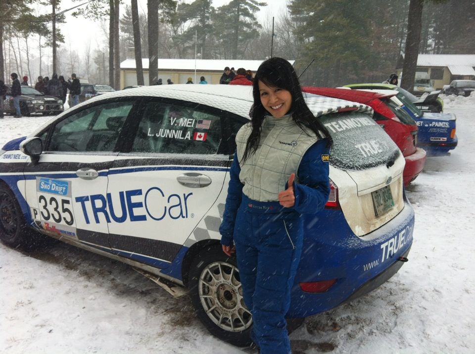 Verena with the TrueCar Fiesta #335 at the Rally America 2012 Season Opener, Sno*Drift Rally