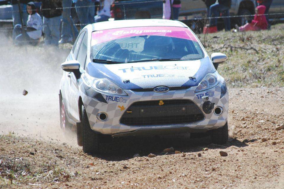 Verena Mei & Leanne Junnila of the TrueCar Rally Team races a Ford Fiesta in Rally America