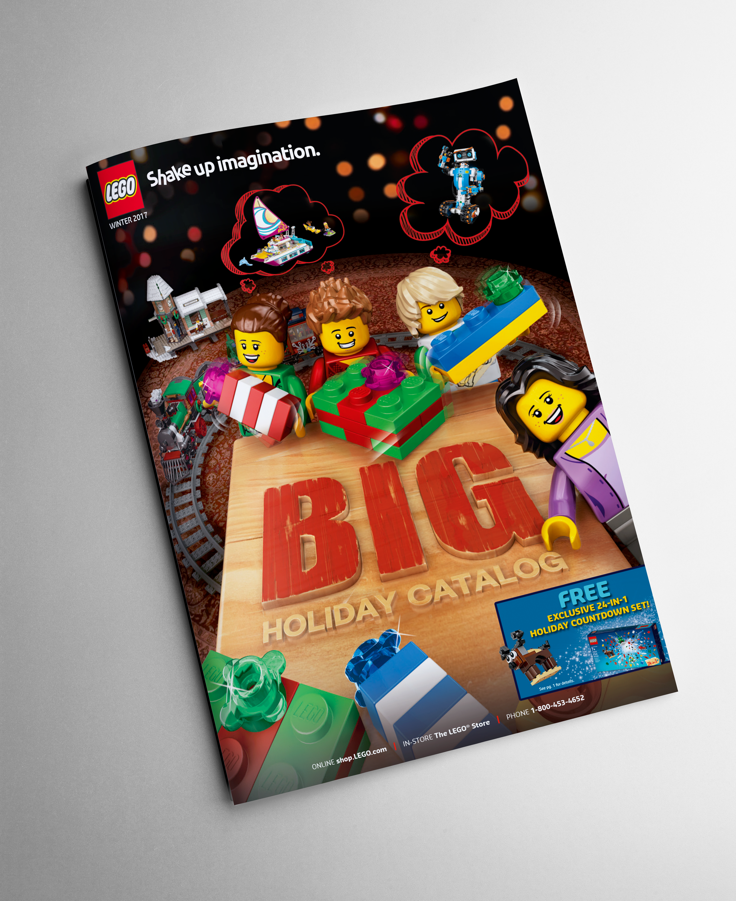 "2017 Big Holiday Catalog   I was tasked to design a creative cover that incorporated the 2017 North American Holiday Campaign - ""Shake up imagination""."