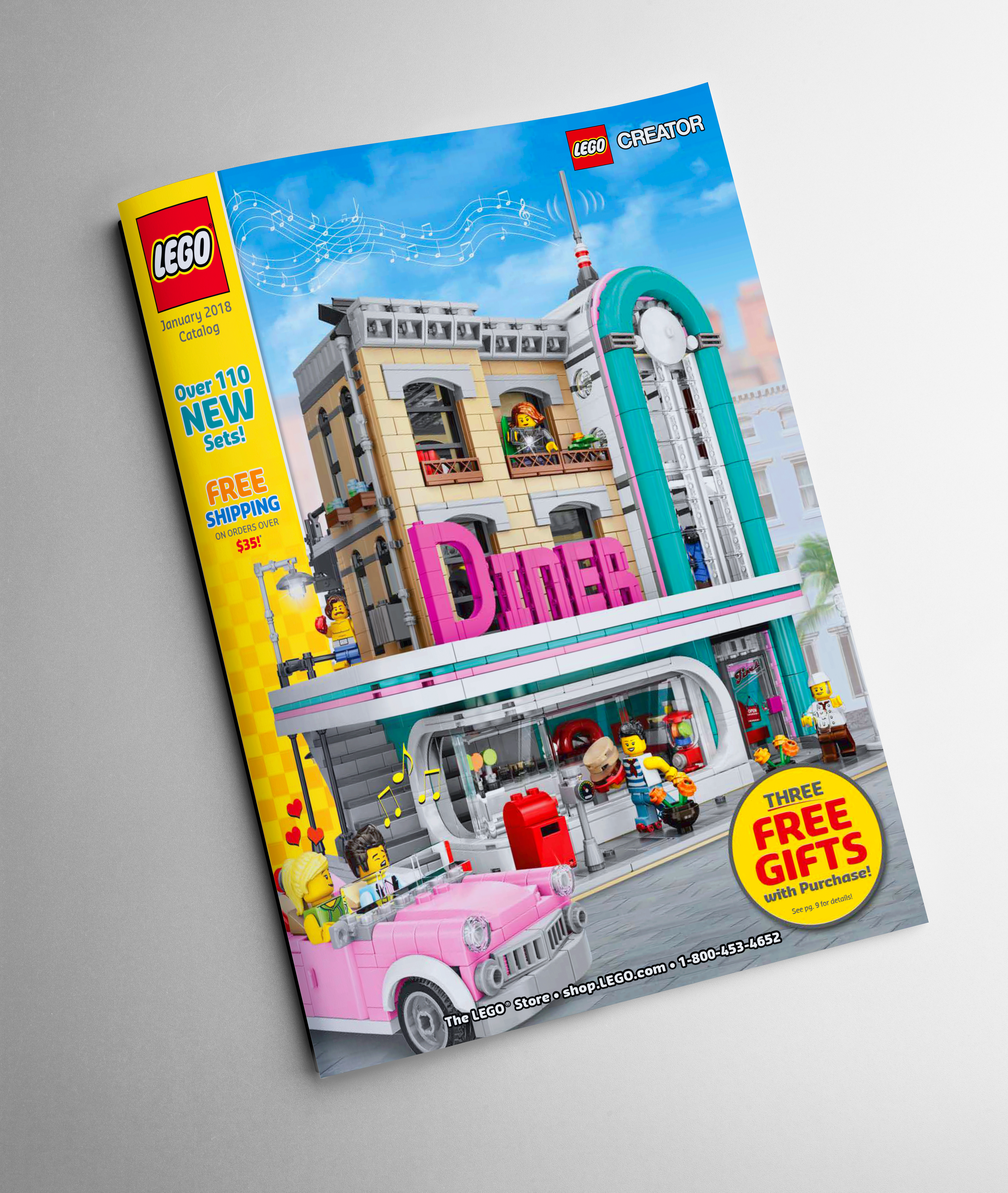 2018 January Cover   This is a straight forward design and most of the catalog covers like to showcase a new product; while also telling a story and bringing the mini-figures to life.