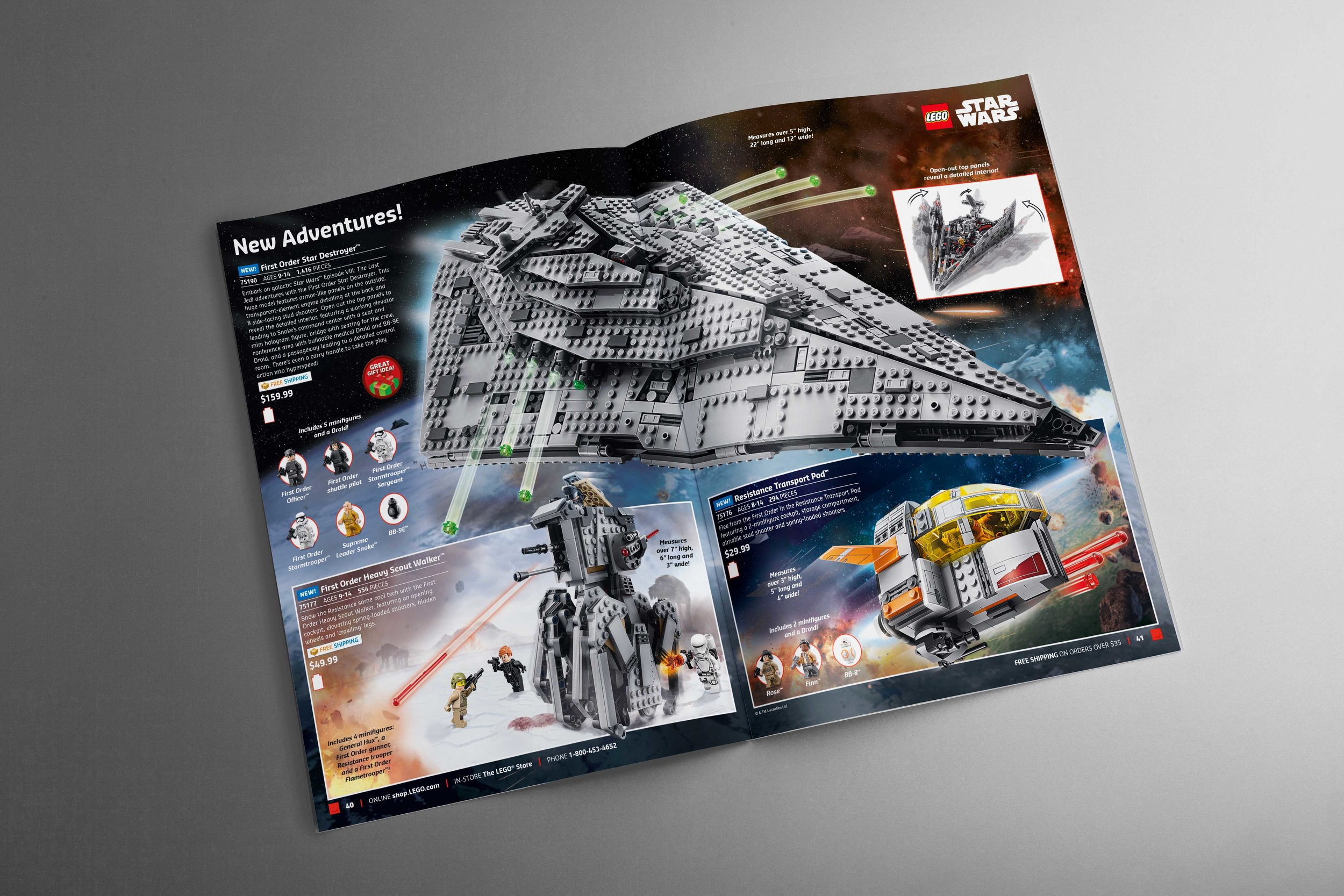 2017 US Fall Catalog   Center spread for US Fall Catalog which shows not one, but three new Star Wars sets.
