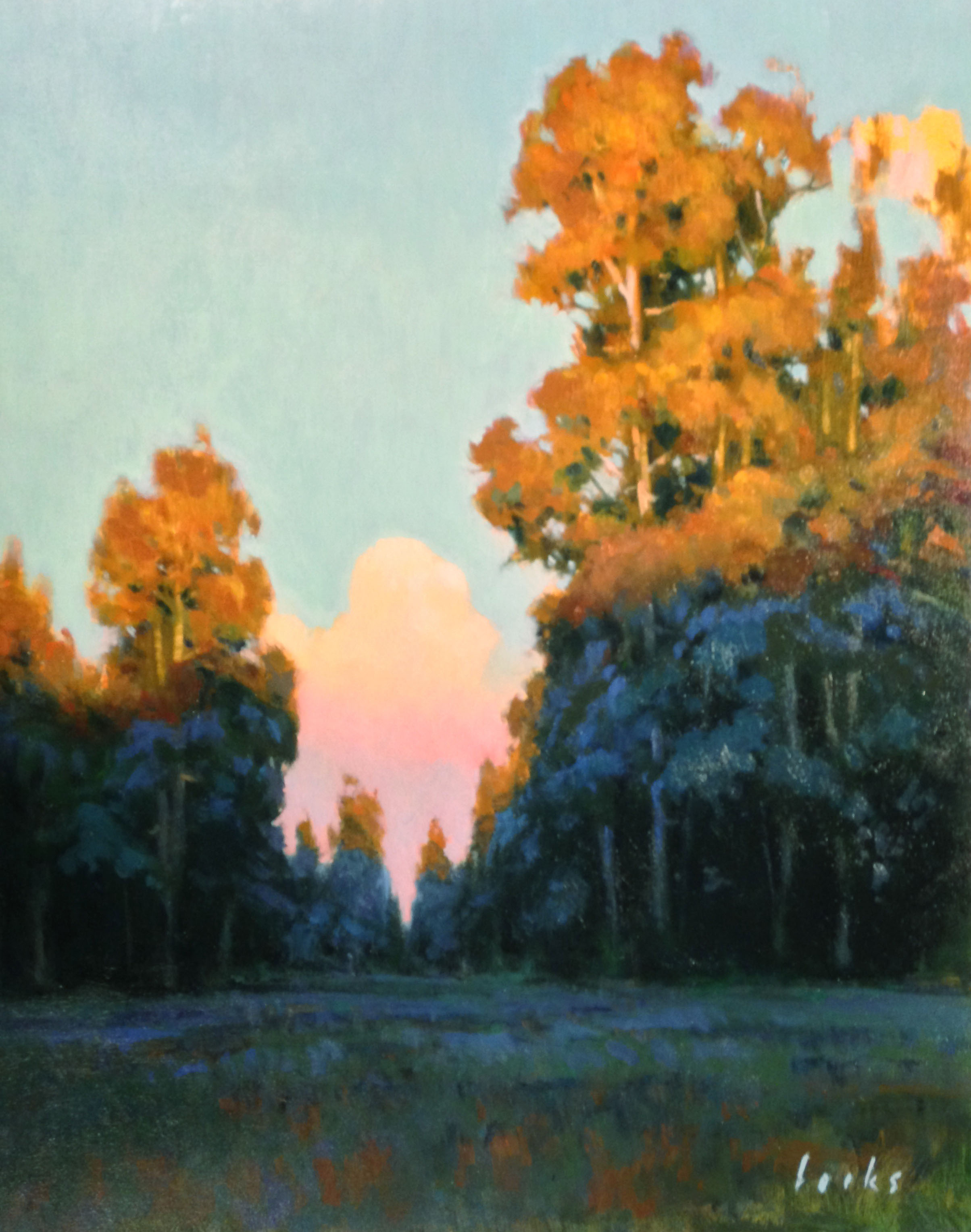David Forks  Sundown in Cypresswood  20X16  Oil on Panel