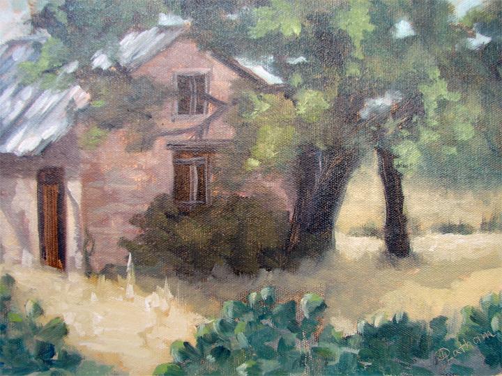 Debra Latham  Old Cypress MillSchool House  9X12  Oil on LinenPanel
