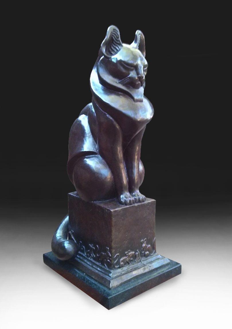 Deran Wright  A Waiting Game Cat  24.5X10.25  Bronze