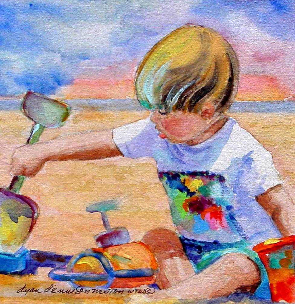 Dyan Newton  Fun Times at The Beach  8X8  Watercolor