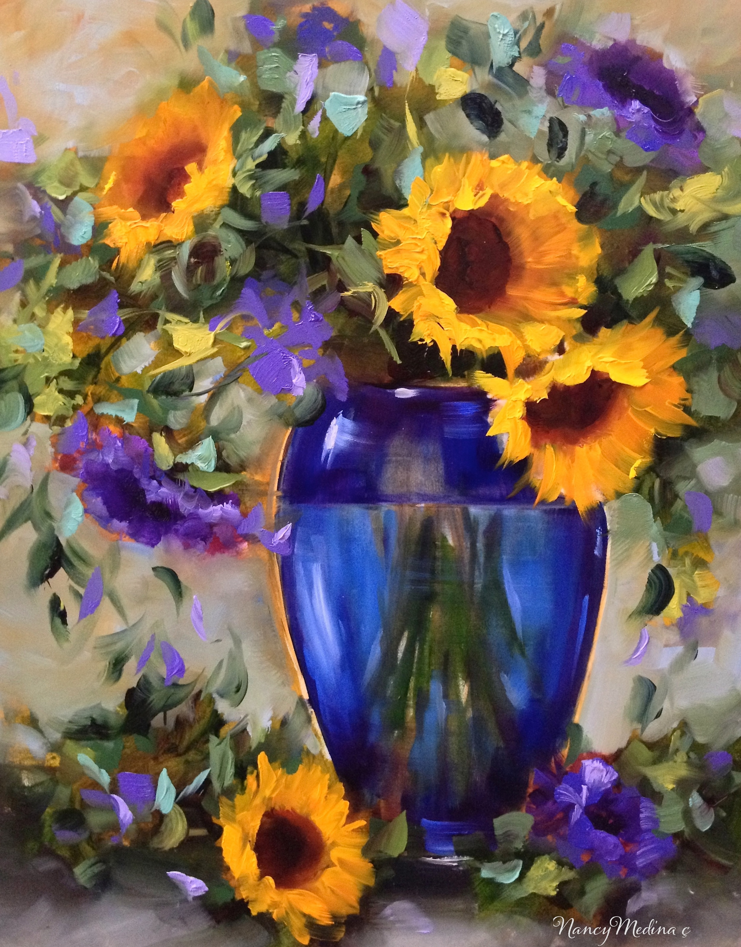 Nancy Medina  Purple Rain Yellow Sunflowers  20X16  Oil on Panel
