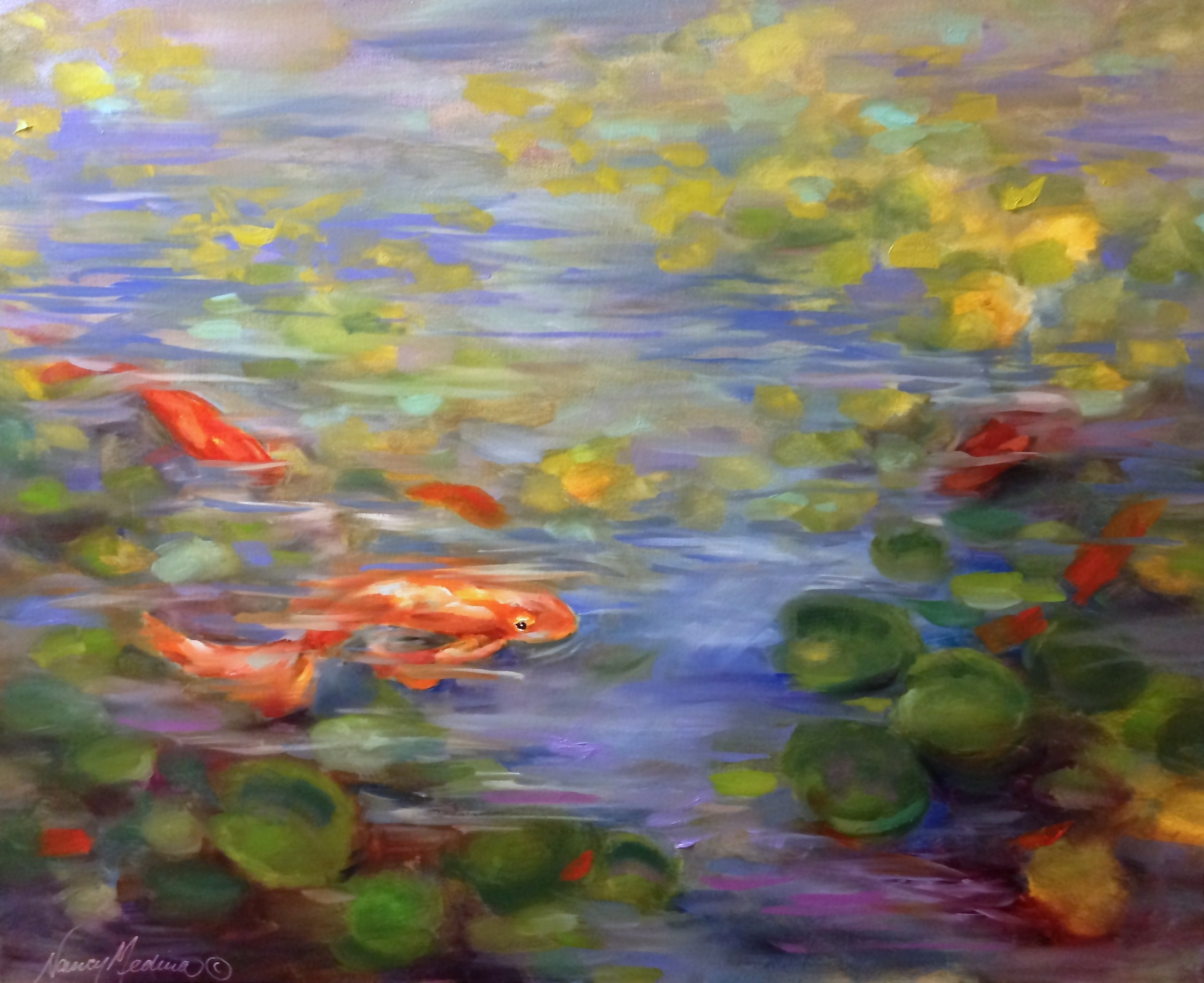 Nancy Medina  Red Gold Koi Pond  30X24  Oil on Gallery Wrap Canvas
