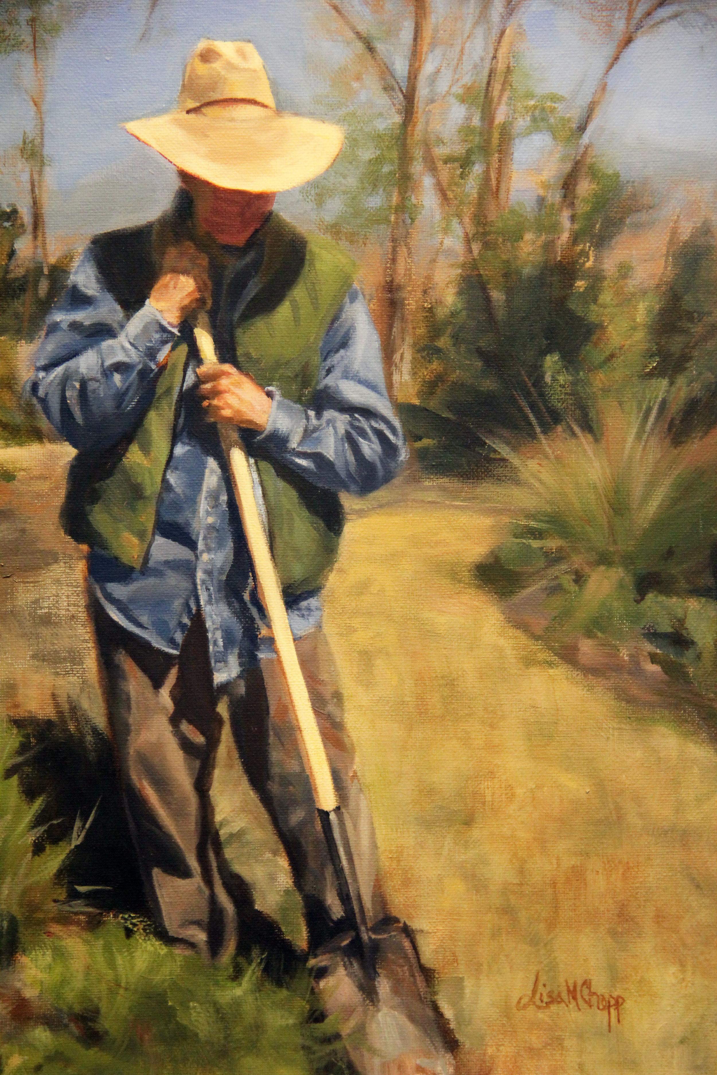 Lisa Chopp  Gardener in Spring  11X14  Oil on Canvas