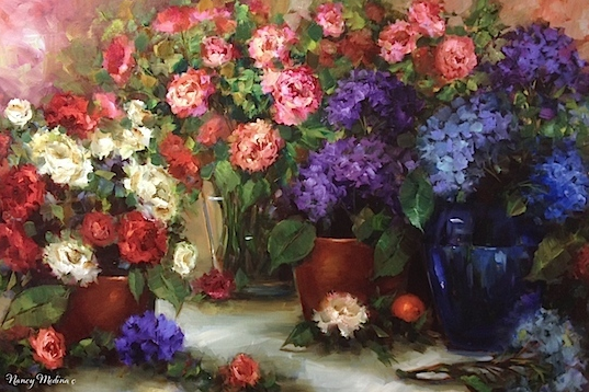Rainmaker Hydrangea and Peony Container Garden by Nancy Medina