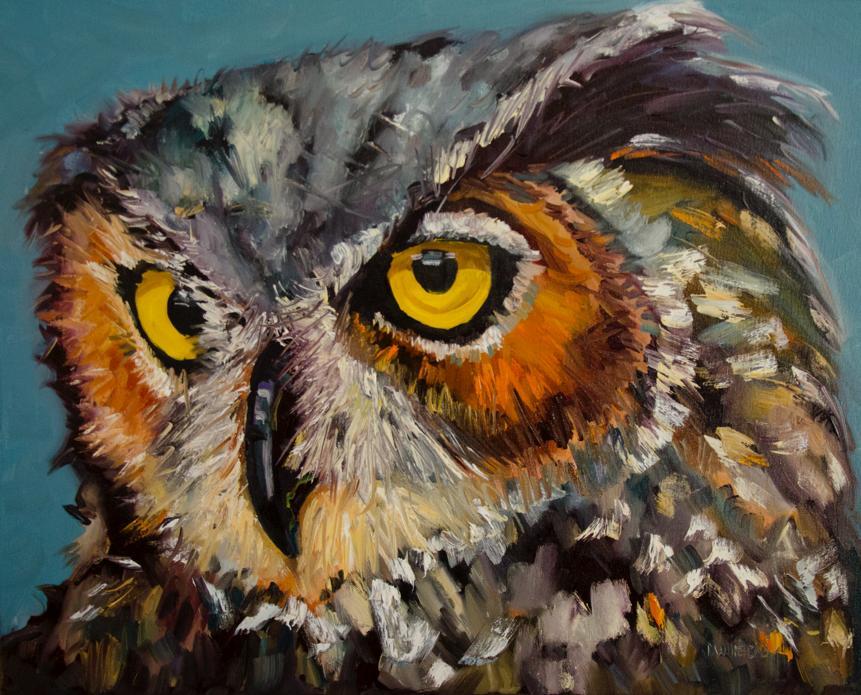 Diane Whitehead  Paws Sup Owl 6  40X40  Oil