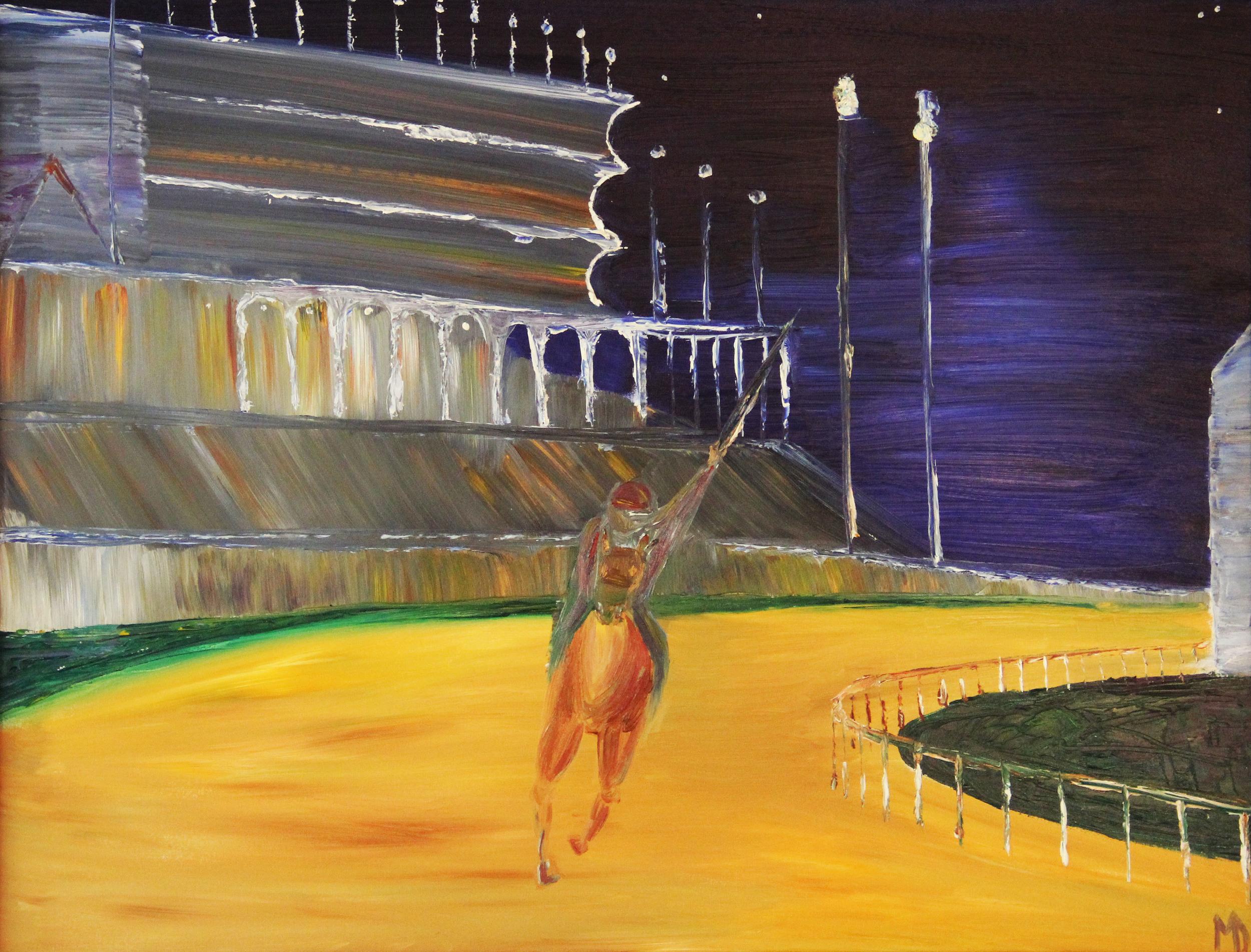 Melissa Davis Doron  Race at Church Hill Downs  26X34  Oil on Canvas