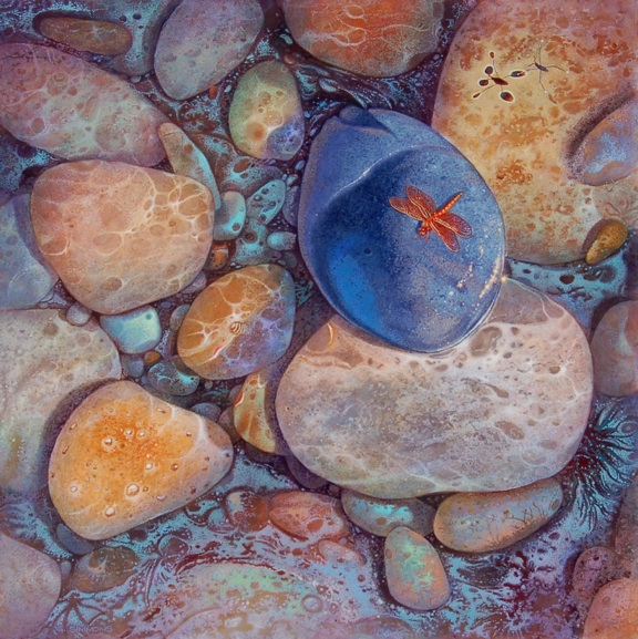 Gregory Carr Simmons  Water Strider & Dragonfly  30X30  Acrylic