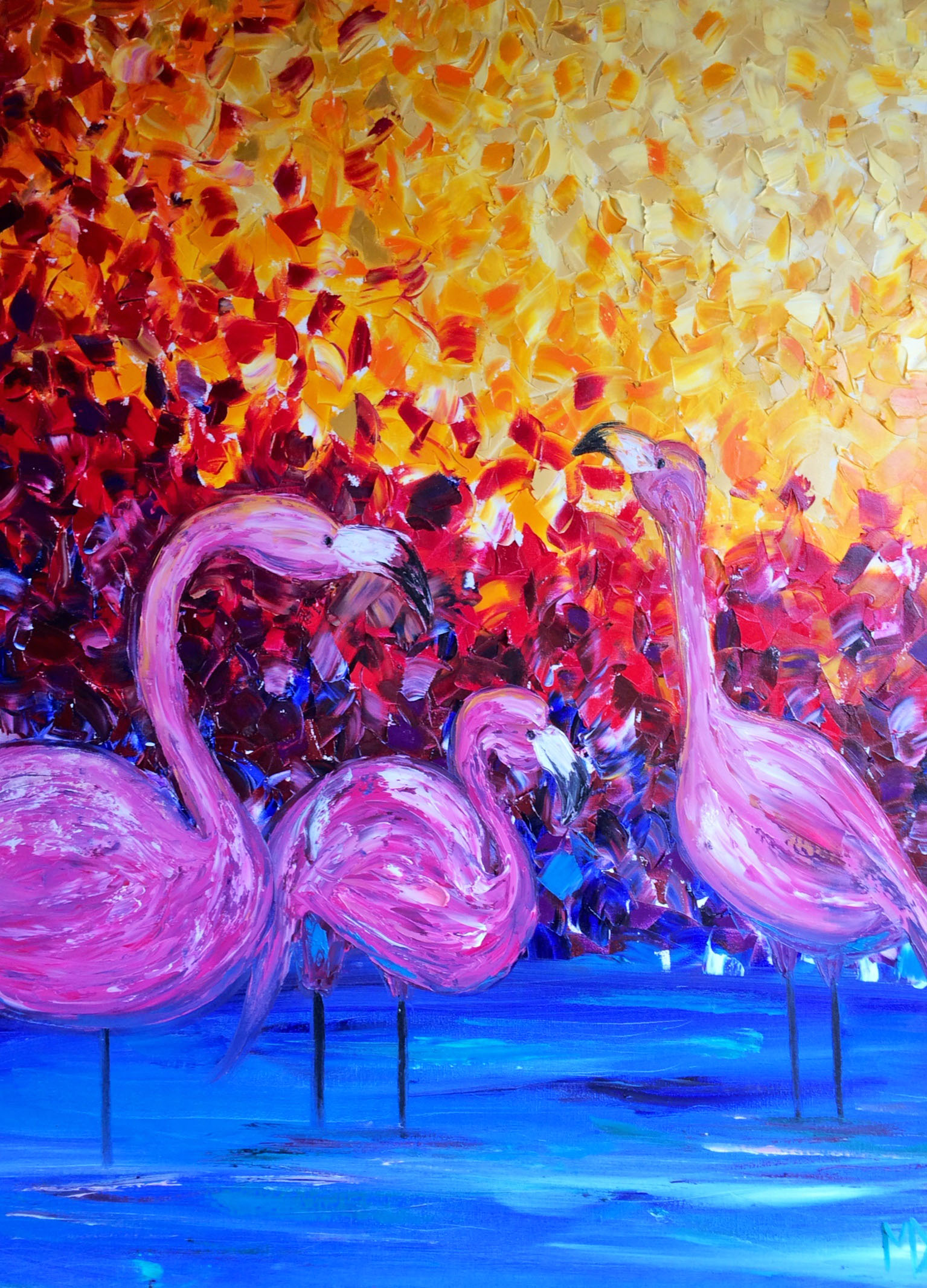 Melissa Davis Doron  Flamingos  40X30