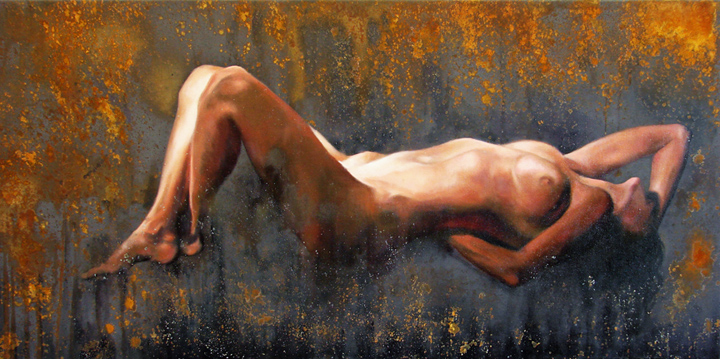 Arturo Samaniego  Rusting Dream  24x48  Oil, oxides and pigments on canvas
