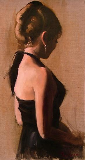 Debra Latham  Little Black Dress  20X10  Oil on Linen
