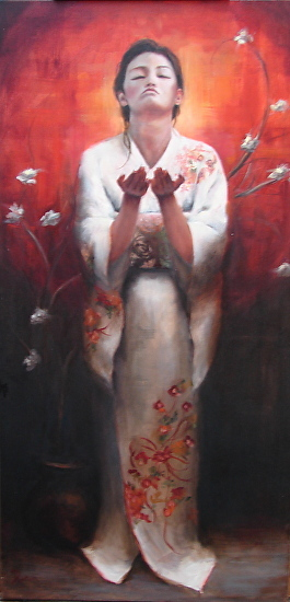 Debra Latham  Blessings From Above  36X18  Oil on Canvas