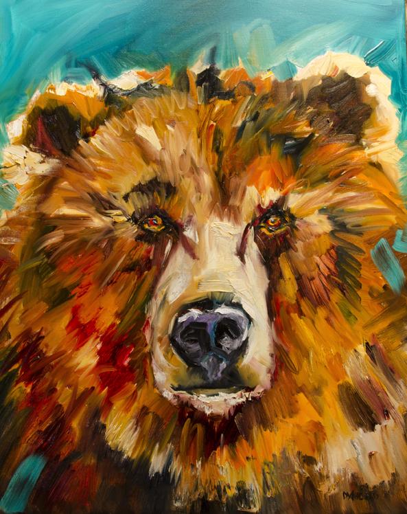 Diane Whitehead  Bear In Love  22X28  Oil  SOLD