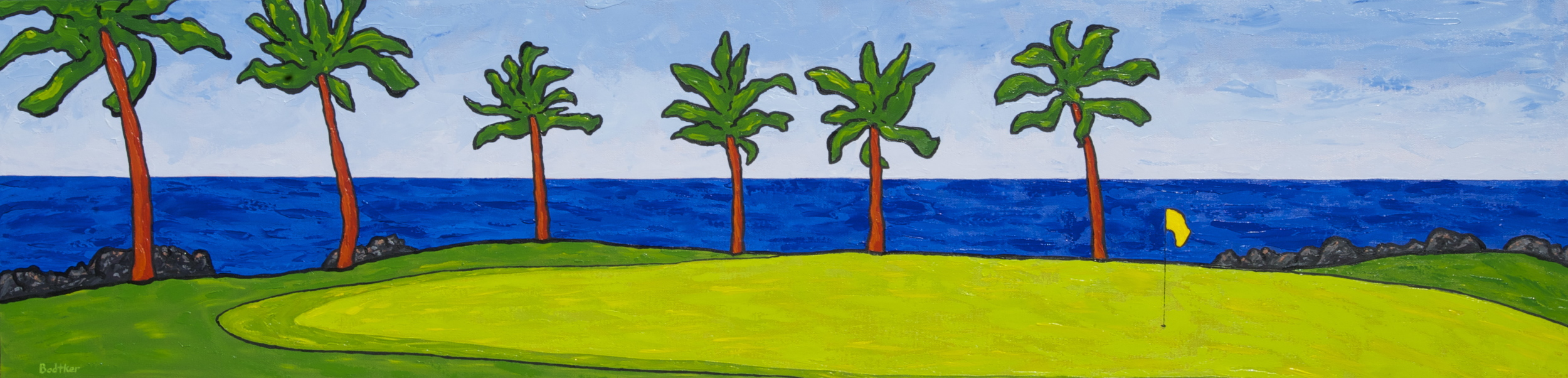 Eric Bodtker  Waikoloa Beach Course  12X48  Oil  SOLD
