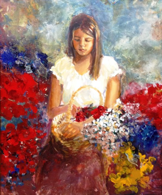 Hilda Rueda  A Basket of Flowers  36x30  Acrylic on Canvas