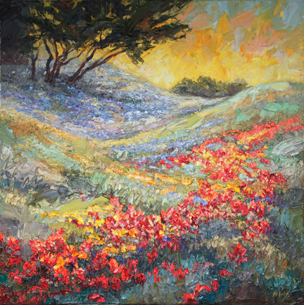 Niki Gulley April Rhythms II Texas Hill Country 36X36 Oil $6,300.jpg