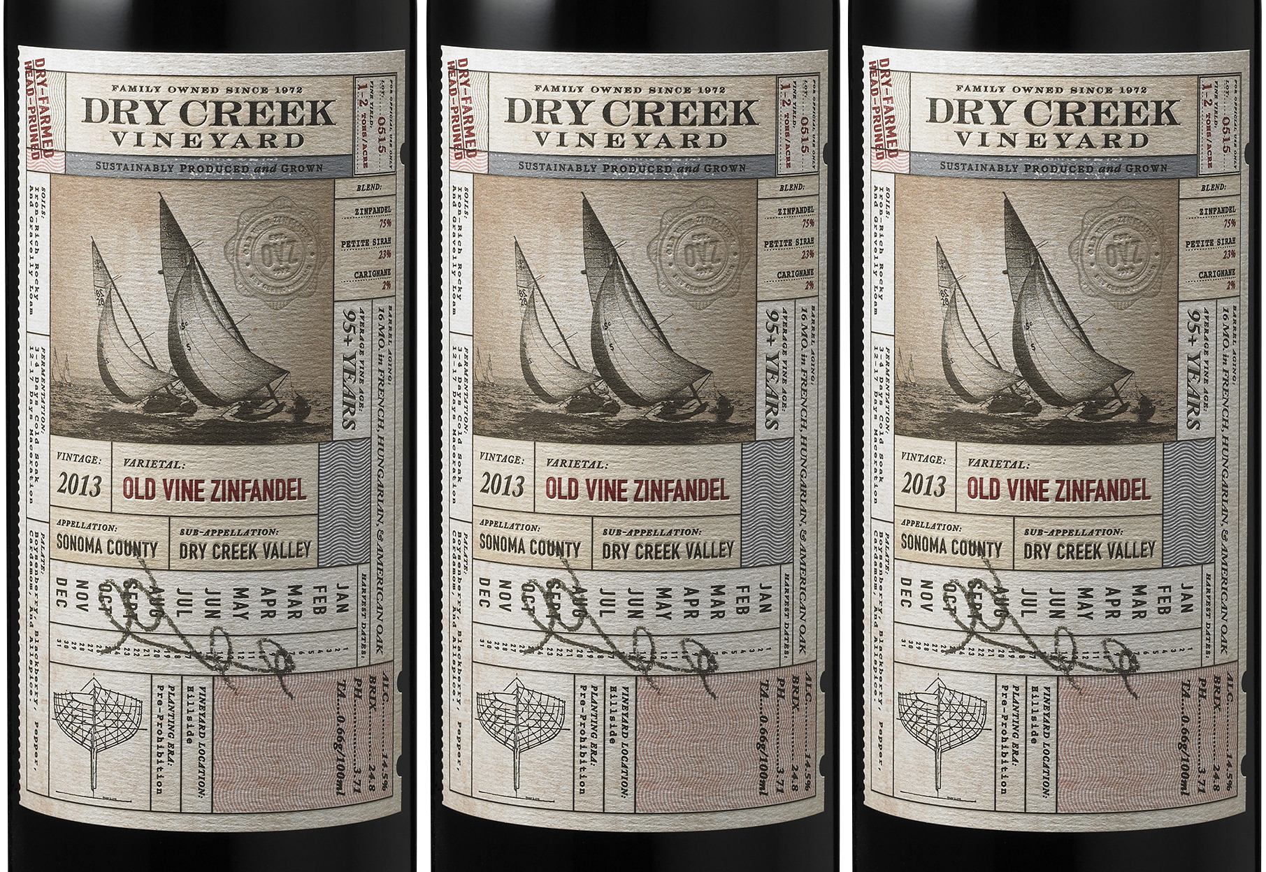 Auston Design Group - Dry Creek Vineyard - Old Vine Zin - 3 Bottle Close-up