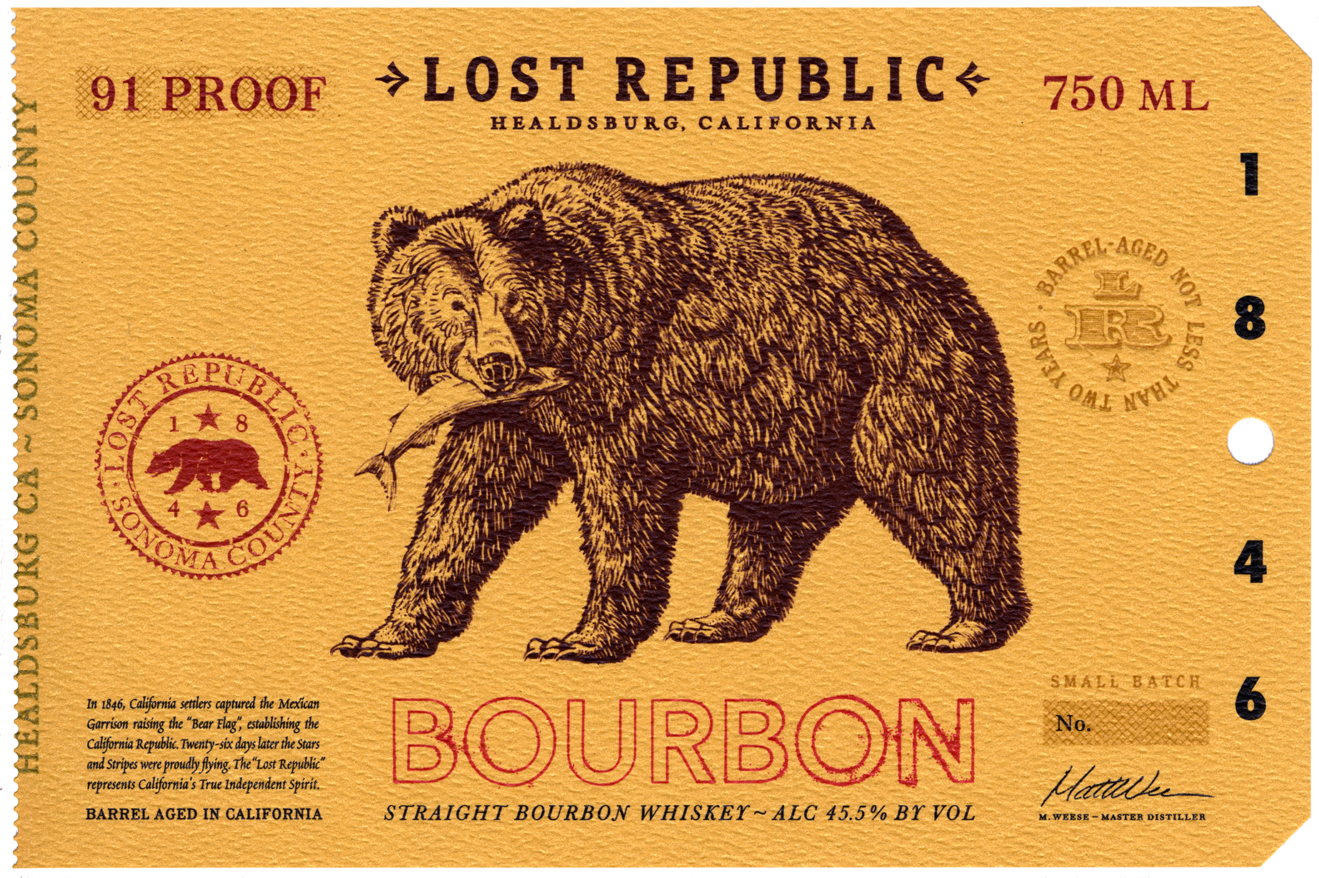 Auston Design Group - Lost Republic Bourbon - Label