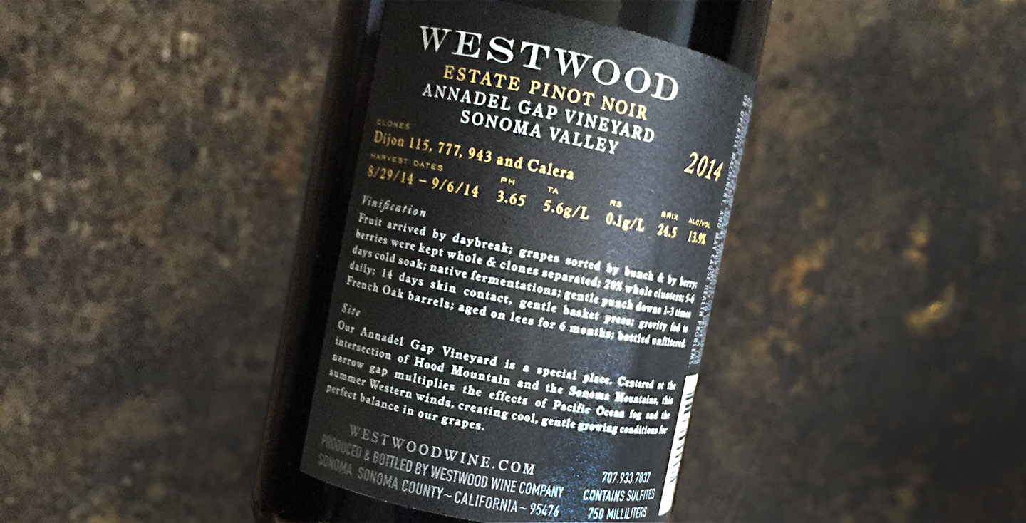 Auston Design Group - Westwood Winery - Pinot Noir Back Label