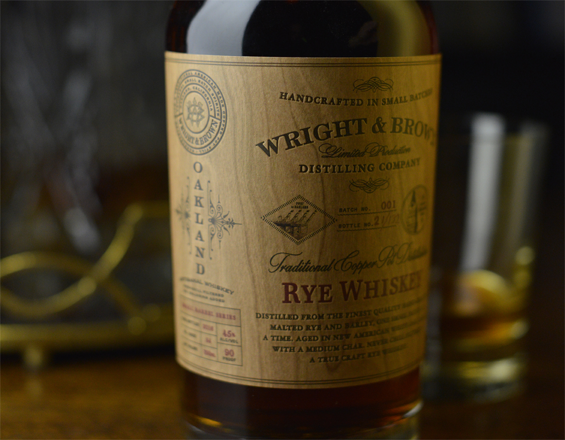 Auston Design Group - Wright & Brown Distilling Co. - Rye Close-up Left