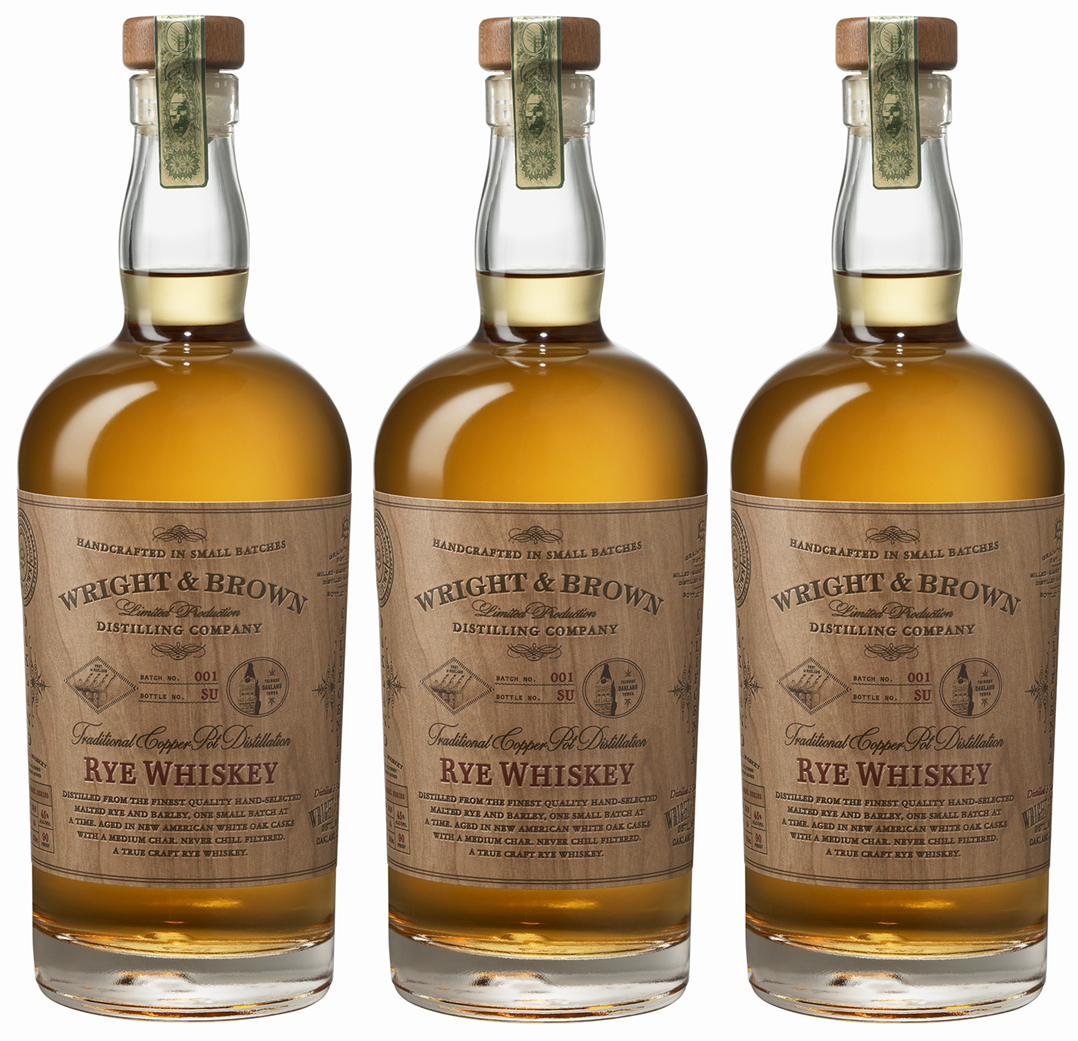 Auston Design Group - Wright & Brown Distilling Co. - Rye 3 Bottles